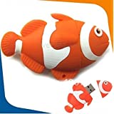 Microware 16GB Fish Shape Nemo Designer Fancy Pendrive (Orange)