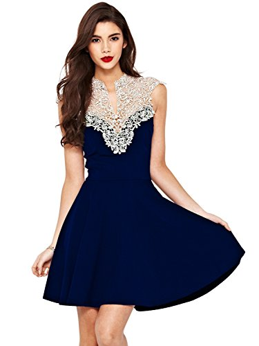 PAKULA Women's Lace V Neck Sleeveless Sexy Party Dress,Blue,Medium
