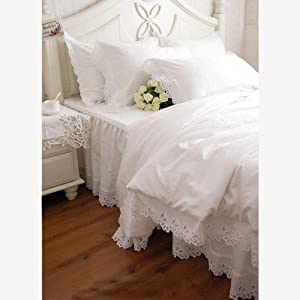 Shabby and Elegant White Cutwork Lace Duvet Cover Bedding Set, Twin Size