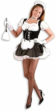 : CH01751 Fi-Fi Sexy French Maid Costume w Petticoat, Black: Clothing