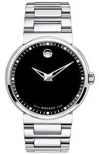 Movado Men's 0606433 Dura Tungsten Carbide Black Round Dial Watch