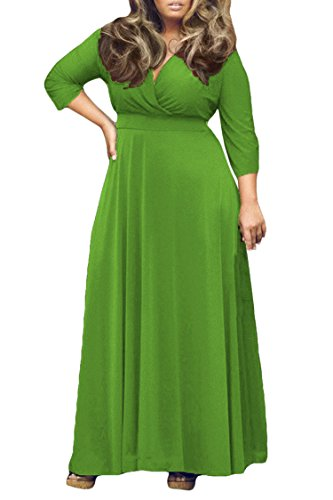 Women's Solid V-Neck 3/4 Sleeve Plus Size Evening Party Maxi Dress XL Green