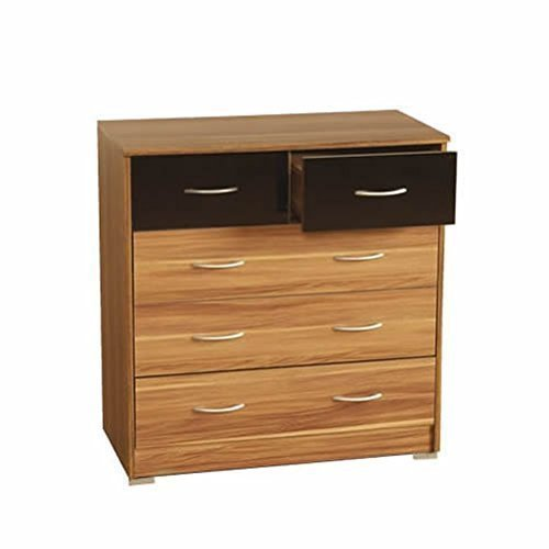 Chest of Drawers - 3 Wide + 2 Small Drawers - Walnut/Black Gloss