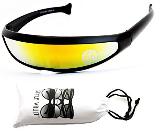 [V160-vp Style Vault Robot Space Party Sunglasses (S1585V Mt Black-Sunset, mirrored)] (Robocop Halloween Costume)