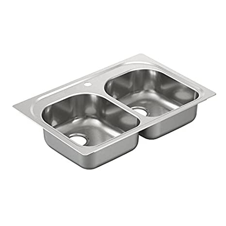 Moen G202591 2000 Series 20 Gauge Double Bowl Undermount Sink, Stainless Steel