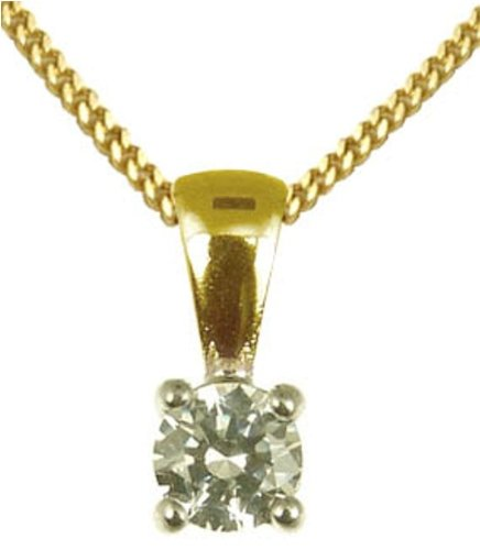 Ladies' Diamond Pendant Necklace, 4 Claw Set, 9ct Yellow Gold Curb Chain, 46cm Length, 0.25 Carat Diamond Weight, I2 Diamond Clarity, Model 9-BP299DI4/25