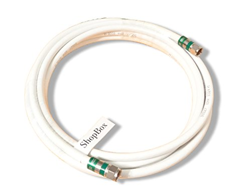 White Quad Shield RG-6 Coax 75 Ohm Cable for (CATV, Satellite TV, or Broadband Internet) (20 Foot) by ShopBox (20 Feet Coaxial Cable compare prices)