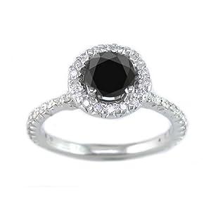 1.30 Ct White & Black Diamond Engagement Ring 14k White Gold