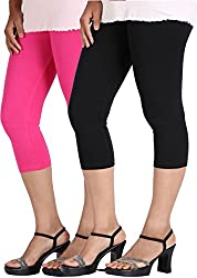 Rooliums Super Fine Cotton Lycra Capri Leggings Combo Pack of 2 (Pink and Black) - FREE SIZE