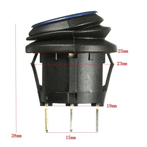 AUDEW1/6 pcs 12V LED Coche Barco ON/OFF Toggle SPST interruptor Indicador Iluminado azul