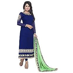 K Mart blue Georgette Embroidered Semi Stitched Salwar Suit Dupatta Material 2100