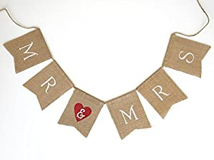 """""""Mr & Mrs"""" Vintage Wedding Anniversary Burlap Bunting Banner Garland Photo Prop - 2.4 Ft Long from Party N Beyond"""