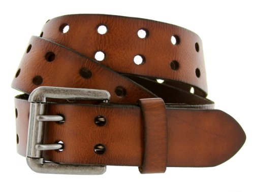 """Belts.com Metro Twin Roller Vintage Full Grain Leather Jean Belt 1-1/2"""" Wide (38, Brown)"""