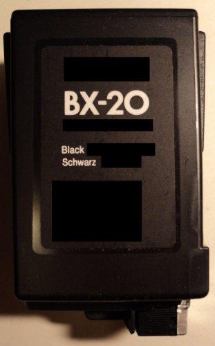 Druckerpatrone BX 20 Refill black für Canon Drucker BJC 2000 2100 2110 2115 2120 4000 4100 4200 4300 4400 4500 4550 4650 5000 5100 5500 S100 Fax B150C B160 B180C B210C B215C B230C EB10 EB15 Fax Multipass C100 C20 C2500 C30 C3500 C50 C5000 C5500 C635 C70 C80 S100 T-Fax 362 362PC 363PC 5500 5830 Fax 940 Apple Color Stylewriter 16-600 Panasonic UF342 UF344 Siemens Fax 940 IH-205