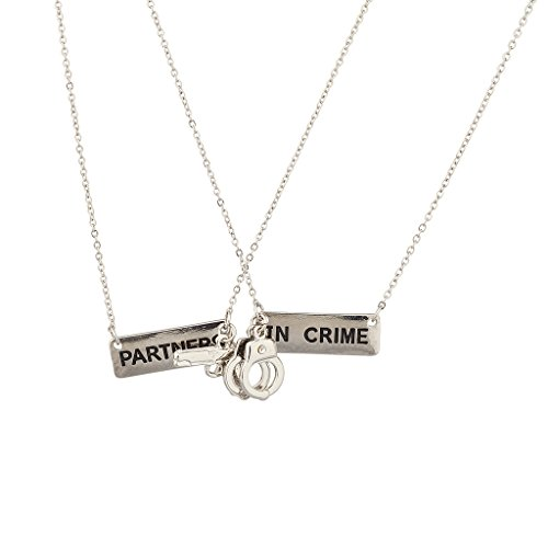 Lux Accessories Partners In Crime Handcuff Hand Cuff Gun BFF Best Friends Forever Matching Necklace Set.
