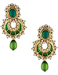 Voylla Green Stone Drop Dangler Earrings With CZ Embellishments
