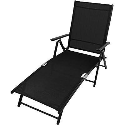 Elegante Relaxliege Gartenliege Sonnenliege Strandliege Campingliege Freizeitliege Saunaliege Liegestuhl Liege Deckchair klappbar 7 Positionen - Schwarz von Multistore 2002 bei Gartenmöbel von Du und Dein Garten