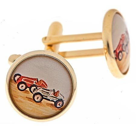 JJ Weston gold plated cufflinks with an image of two vintage racing cars with presentation box. Made in the U.S.A