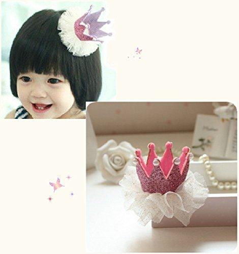 [my fairy baby] お誕生日にも♪ ハット 風 王冠 ヘアクリップ レース付  女の子 アクセサリー 各色 (ピンク)