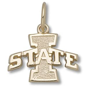 Iowa State Cyclones 3 8 I State Logo Charm - 14KT Gold Jewelry by Logo Art