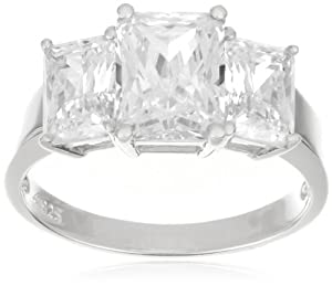 Platinum Plated Sterling Silver Cubic Zirconia Emerald-Cut Three-Stone Cubic Zirconia Ring, Size 6