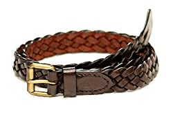 Tops 25mm Brown Hand Braided Leather Belt For Women