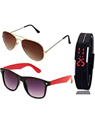 GOLDEN BROWN AVIATOR SUNGLASSES AND RED BLACK WAYFARER SUNGLASSES WITH TPU BAND RED LED DIGITAL BLACK DIAL UNISEX...