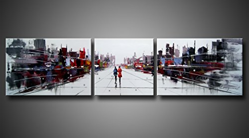 Ode-Rin Hand Painted Mordern Oil Paintings Two People World Of Shadow Cities Splice 3-piece Wall Decoration£¨20x30Inchx2pcs,20x20Inchx1pcs)