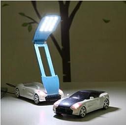 WAYCOM Foldable Car Shaped Eye-care Rechargeable Warm White LED Reading Lamp/ Task Light/ Children Bedroom Light/USB Nightlight,Perfect Gift for Children (Black)