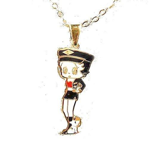 Kids Bijoux-Ciondolo da donna, motivo: Betty Boop e il suo cagnolino gioielli placcato oro, colore: giallo