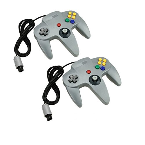 2 Grey Long Handle Controller Pad Joystick For Nintendo 64 N64