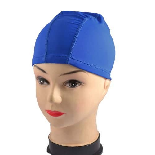Child Polyester Elastic Swimming Bathing Hat Cap Blue