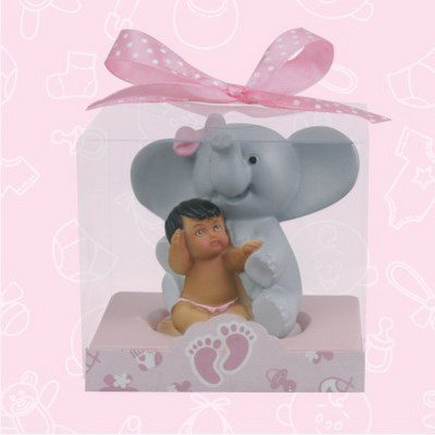 36 Ethnic Baby Shower Pink Baby Girl With Elephant Favor In Box Favors Gift Keepsake Favor front-1077368