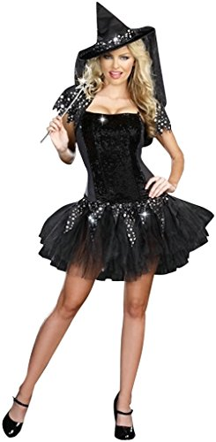 Black Starry Night Adult Witch Halloween Costume Fancy Dress Outfit