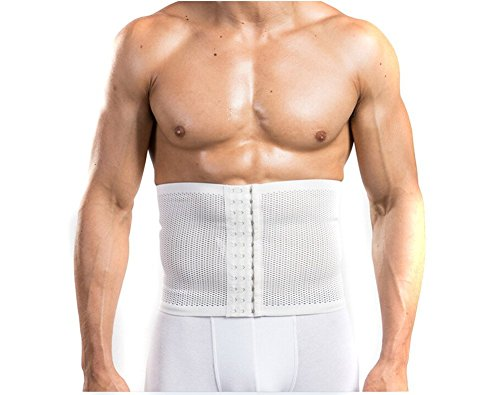 TININNA Breathable Elastic Mesh Waist Corset Trimmer Belt Body Waist Slimming Belt Slimmer Abdomen Support Girdle Belt Belly Band Wrap for Men XL White