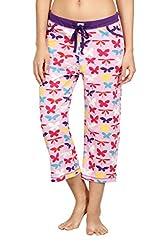 Nuteez Pink Cotton Papillon Capri For Women