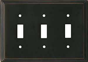 ART DECO STEP Oil Rubbed Bronze Switchplates Outlet Covers, Rocker, GFCI 3 Toggle