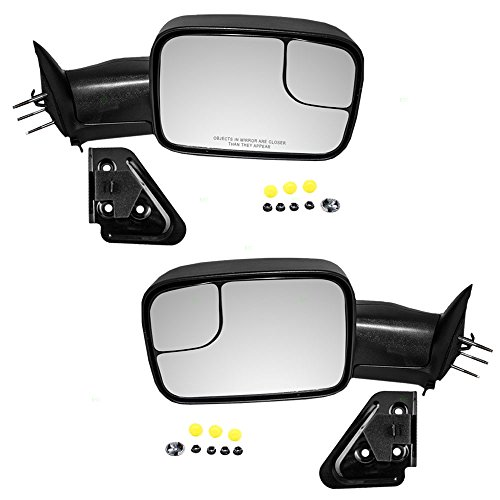 Driver and Passenger Manual Side Tow Mirrors 7x10 Flip-Up with Mounting Brackets Replacement for Dodge Pickup Truck 55156335AD 55156334AD (Tow Mirrors For Dodge Ram 1500 compare prices)