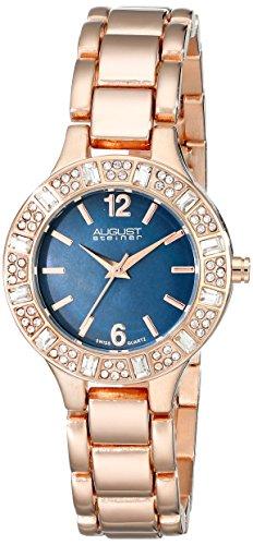 August Steiner Women's Swarovski Crystal-Accented Rose Gold-Tone Bracelet Watch