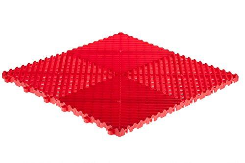 Swisstrax (A504.000.300-9) Ribtrax Modular Flooring Tile, Racing Red - (Pack of 9)