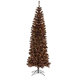 10' Pre-Lit Mocha Tinsel Pencil Artificial Christmas Tree- Clear Lights