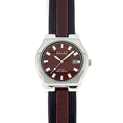 Click for ANTON RUSANO Men's Silver-tone Round Faced Watch with Chocolate Brown Dial. Model: AR-1031M