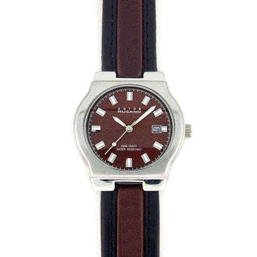 ANTON RUSANO Men's Silver-tone Round Faced Watch with Chocolate Brown Dial. Model: AR-1031M