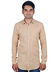 Maclavaro Mens Casual Solid Shirt_9PLNCOTBEIGE_Beige_S