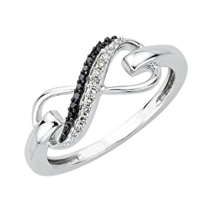Two Row Infinity Black and White Diamond Ring in Sterling Silver (1/20 cttw) (Size-6)