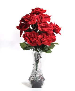 'Forever Flowers' Velvet Rose Bouquet  Vase &
