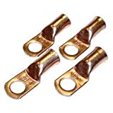 Fastonix Quality Copper Battery Terminal Lugs 4 Pack (3/8 2 Gauge)
