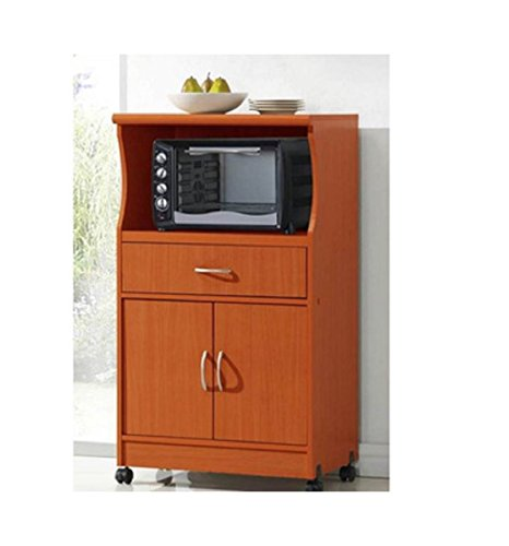 Microwave Cart Stand - Cherry Finish - One Shelf for the Microwave and Another Shelf Above Plus a Drawer and Cabinet Below (Microwave Cart With Drawer compare prices)