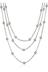 Sterling Silver Italian Rhodium Plated Graduated Three Strand Rolo Bead Necklace, 15""