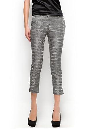 Mango Women's Cropped Jacquard Trousers - Bibi, Black, 2